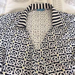 EUC J. McLaughlin Wrap Dress Navy & White XL